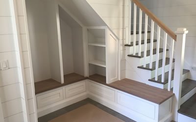 Custom built-In Storage, Shelving, And Seating New Haven County CT.